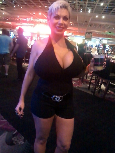 Claudia Marie with her big tits in a black outfit at The Flamingo