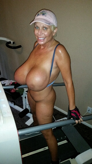 busty nude blonde on treadmill