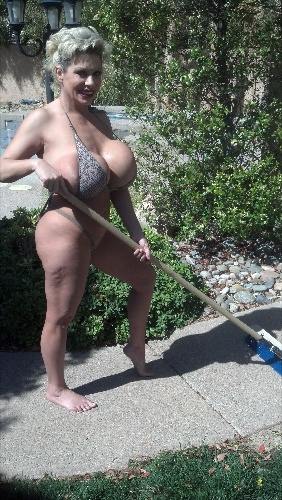 Topless yard work