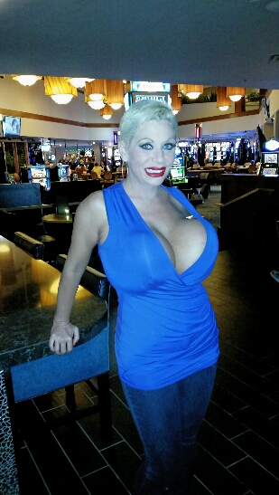 Big tits Claudia Marie partying in a blue dress