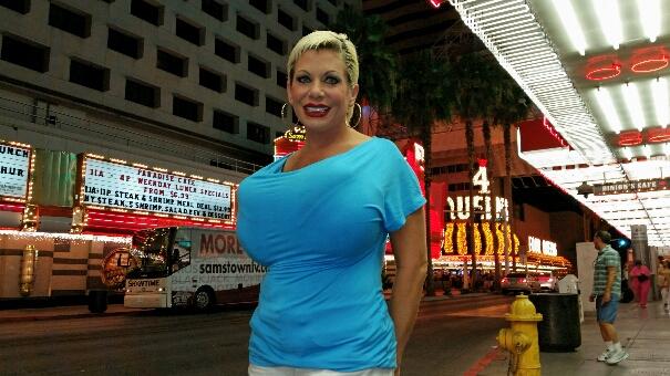 Big boobs in blue shirt