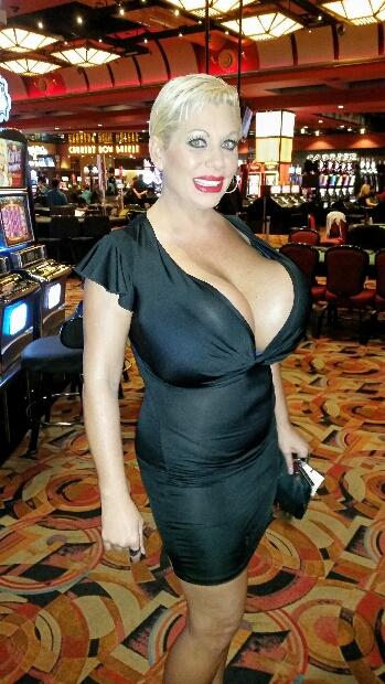 Huge fake boobs at Eastside Cannery in Las Vegas