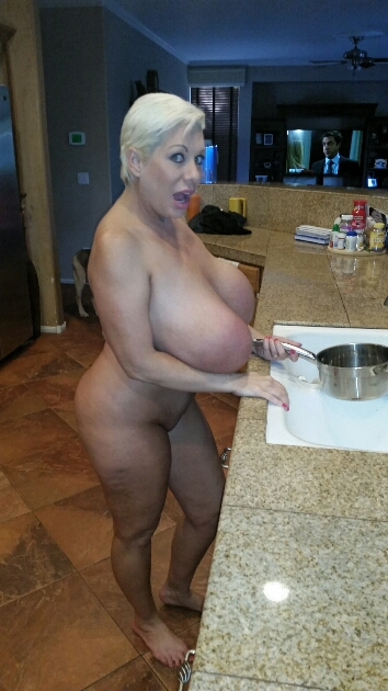 Claudia Marie big udders in the kitchen